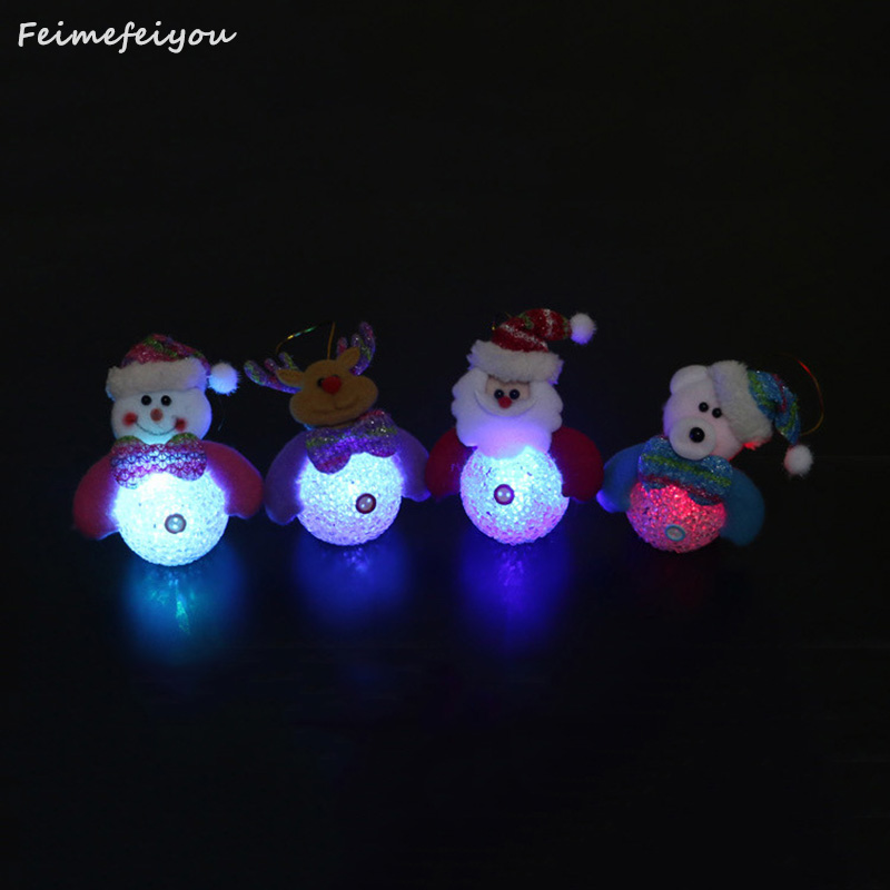 Lovely Snowman Santa Claus LED Night Light Desk Doll Christmas tree pendant decor Table Luminous Lamp Nightlight for Children