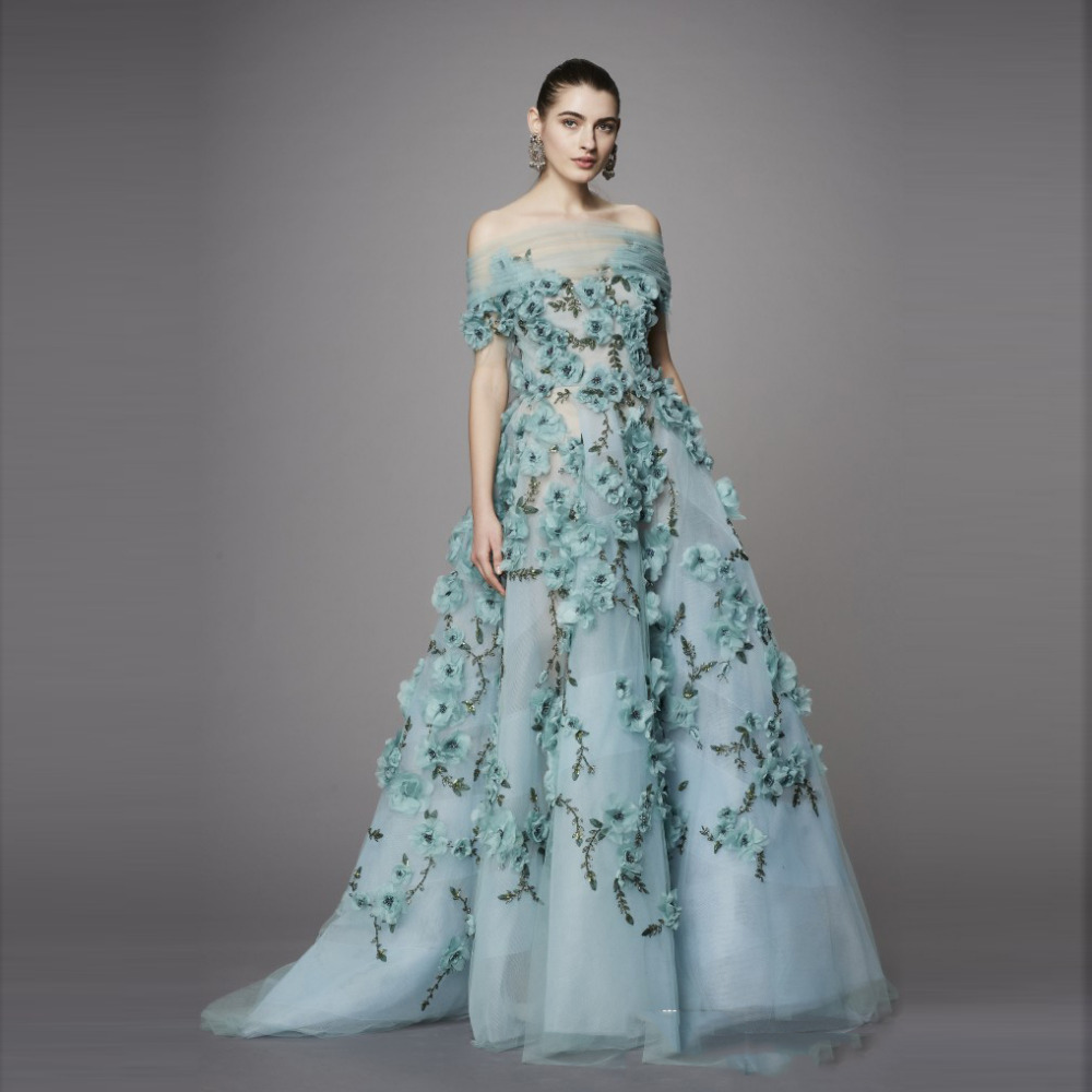 Turquoise 2017 Pretty Tulle Floral Evening dresses 3D Flower With ...