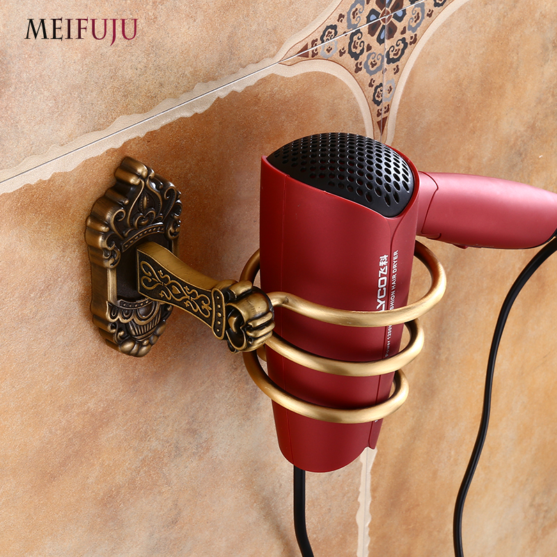 MEIFUJU Antique Hair Dryer Holder Aluminum Bathroom Hair Dryer Holder Wall Mounted Storage Hairdryer Rack Holder Hanger Black antique brass wall mounted hair dryer holder bathroom hair blower rack
