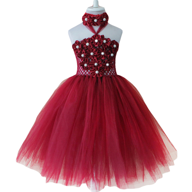 4b4511aa9 YEWUDIER Burgundy Wine Red Flower Girls Tutu Dress Fashion Princess ...