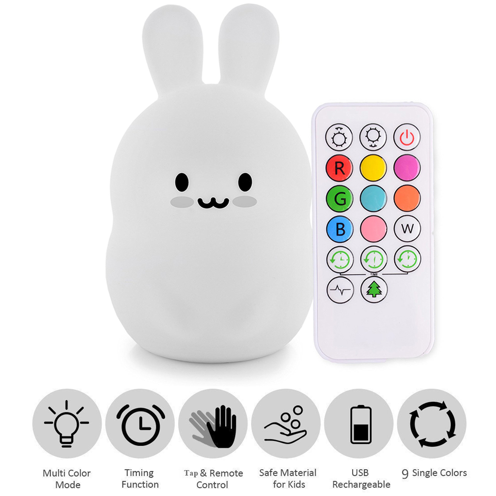 Baby LED Night Light Silicone Rabbit Nursery Lamp 9 Colors USB Rechargeable Sensor Tap Remote Control Night Lamps For Children