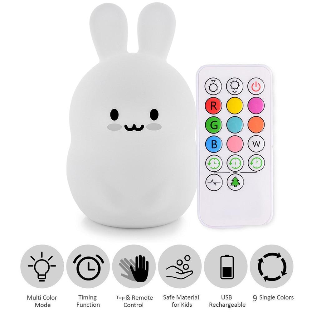 bebe led night light silicone coelho bercario lampada 9 cores usb recarregavel sensor de controle remoto