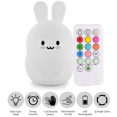bebe led night light silicone coelho bercario lampada 9 cores usb recarregavel sensor de controle