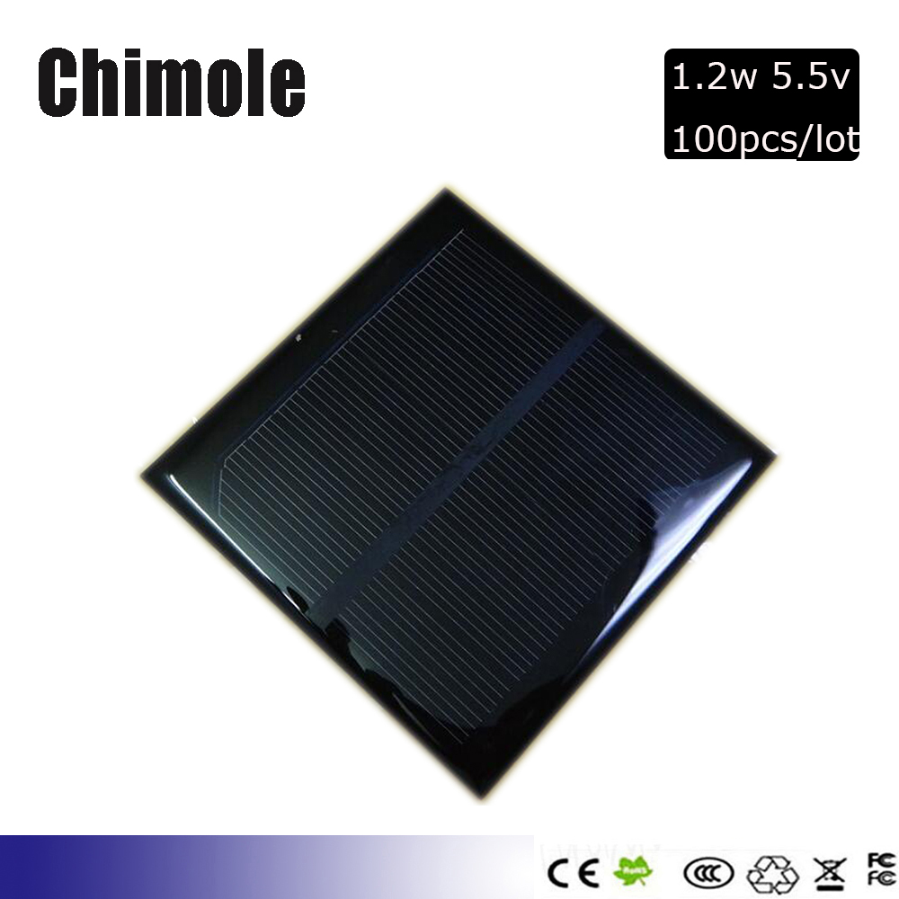 100pcs/lot Mini 1.2W 5.5V Solar Cell Monocrystalline Solar Panel Solar Module DIY Solar Charger 98*98MM