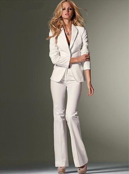 Model Fashion Stretch Cotton Women White Pant Suits Three Quarter Sleeve