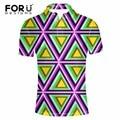 FORUDESIGNS 3D Geometric Triangles Pattern Men Polo Shirts Brand Clothing New Men Shirts Comfort Supreme Short Sleeve Polo Shirt
