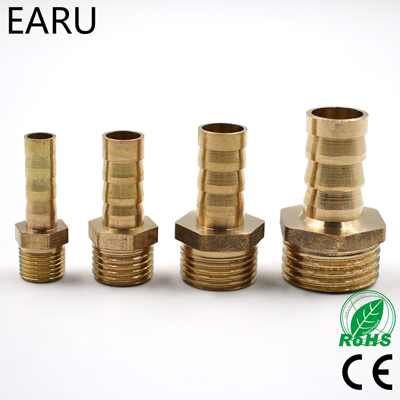 Brass Male Barb Hose Tail Fitting Fuel Air Gas Water Hose Oil 4m-12m 1/8'' 1/4'' 1/2'' Pneumatic Connector Connect Socket Plug
