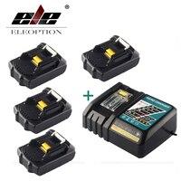 ELEOPTION 4 шт. 18 В 2000 мАч литий ионная Мощность инструмент Батарея для MAKITA 194205 3 194309 1 BL1815 + 1x 7,2 В 18 В Зарядное устройство