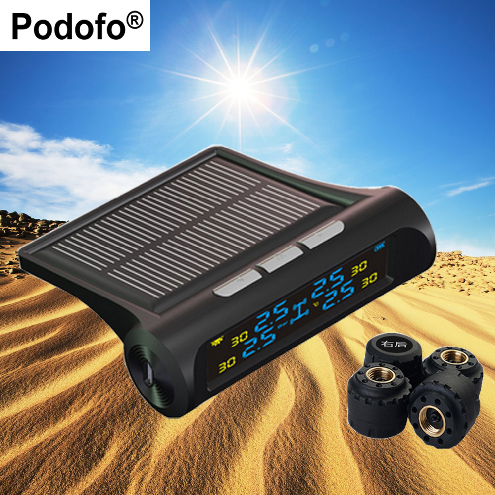 Podofo 4 External Sensors Auto Alarm System font b TPMS b font Car Tire Pressure Monitoring