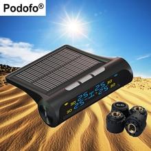 Podofo 4 внешних Датчики Автоматическая сигнализация Системы TPMS автомобильных шин Давление мониторинга цифрового ЖК-дисплей Дисплей солнечной энергии инструмент диагностики