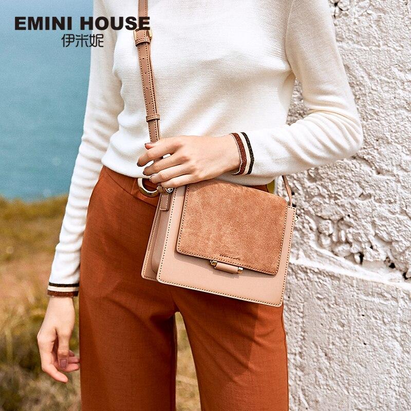EMINI HOUSE Split Leather Fur Flap crossbody bags for women 2018 Messenger shoulder bags Female Solid