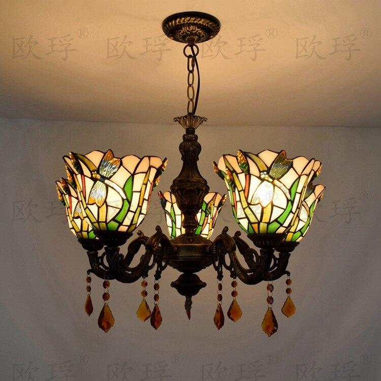 Tiffany libellule vitrail Luminaire suspendu E27 110-240V chaîne pendentif lumières pour maison salon salle à manger suspension