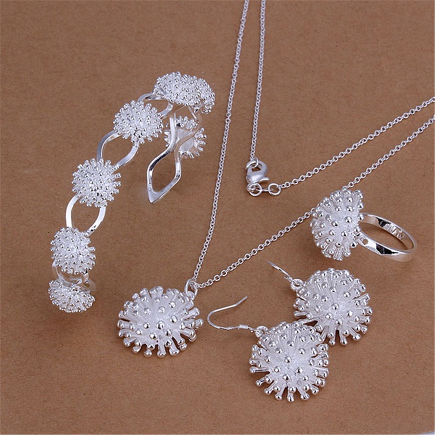 Enthusiastic New Silver Plated Jewelry Set Fashion Exquisite Charm Fireworks Pendant Necklace Bangles Drop Earrings Ring S329 And Digestion Helping