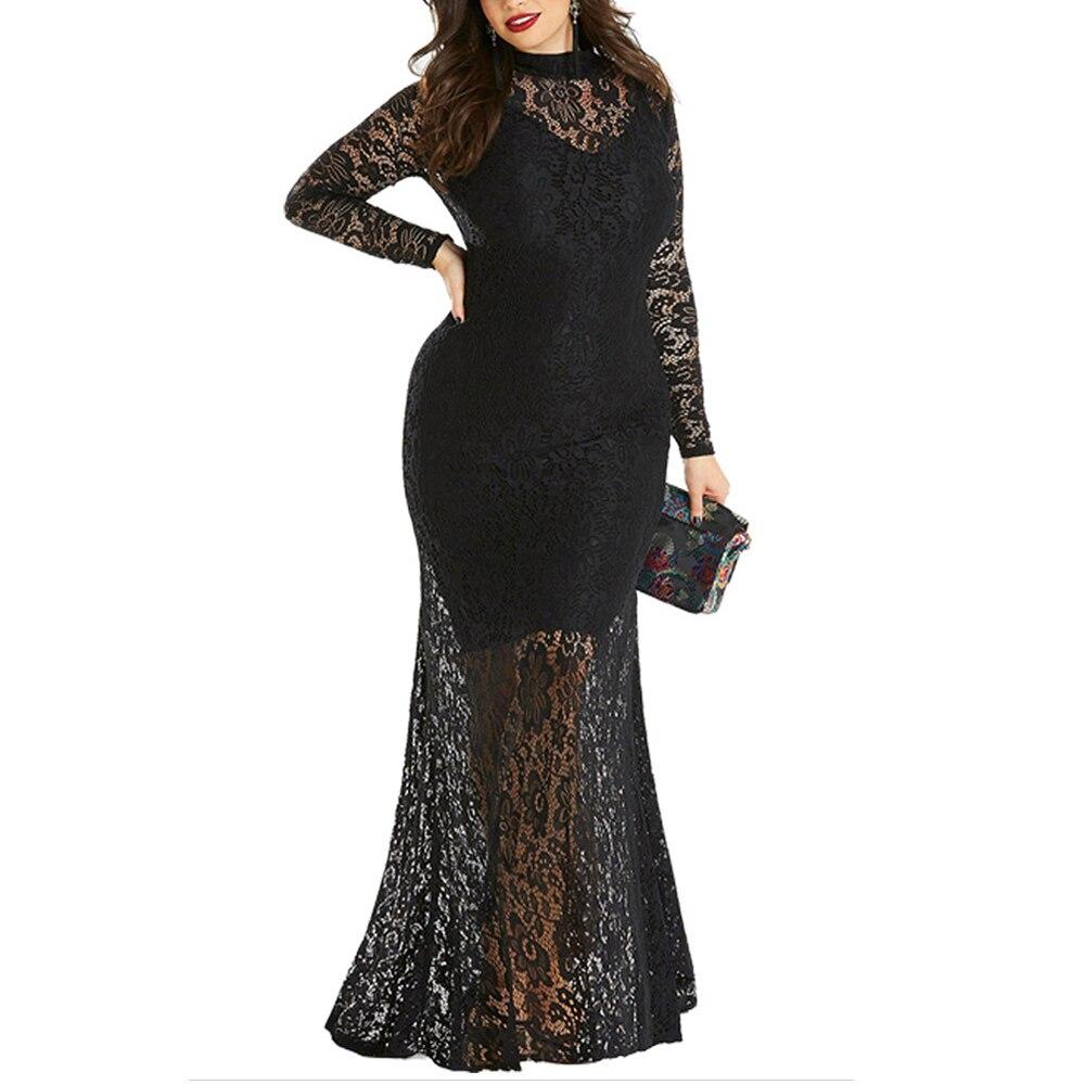 Femme grande taille Maxi robe élégante sirène robe de soirée Vintage dentelle robes de soirée mode évider Vestidos rétro Long tissu