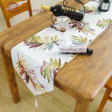 Home Decorative Elegant European Double-layer Thick Polyester Leaf Printing Table Cloth Hot Sale Cover Towel Runner