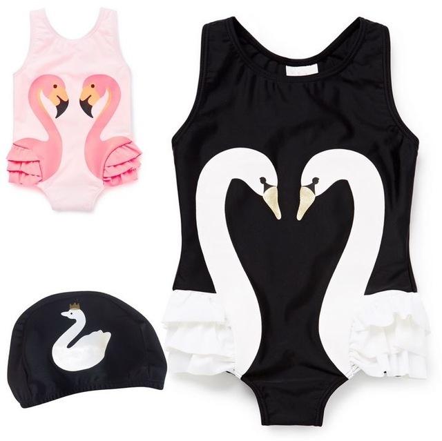 Baby Girl Swimwear – Swan/Flamingo