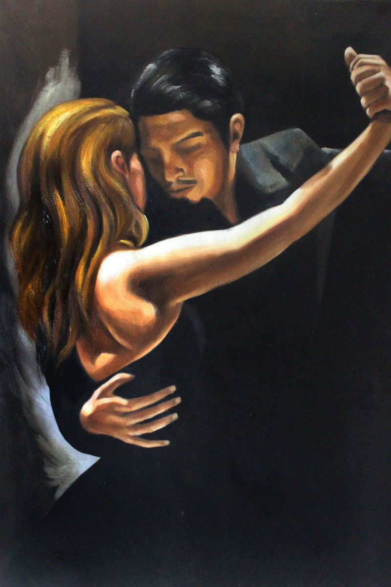 Museum Quality Tango Painting Tango Ii By Mark Bennett -3941