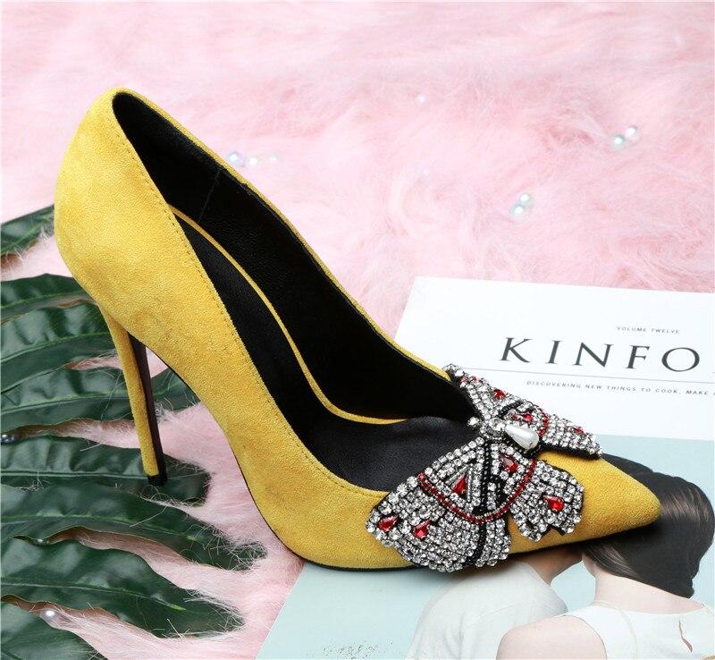 Jaune Cristal Bout Papillon noeud yellow Pompes Stiletto En Pour Rouge Black Chaussures Femmes Noir Talon Fleur Diamant Pointu Femme Daim Sexy PPdrxnSYw