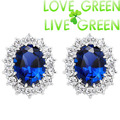 free shipping gold plated brand Royal Blue Kate Queen Austrian Crystal zircon rhinestones stud Earrings fashion jewelry 8585