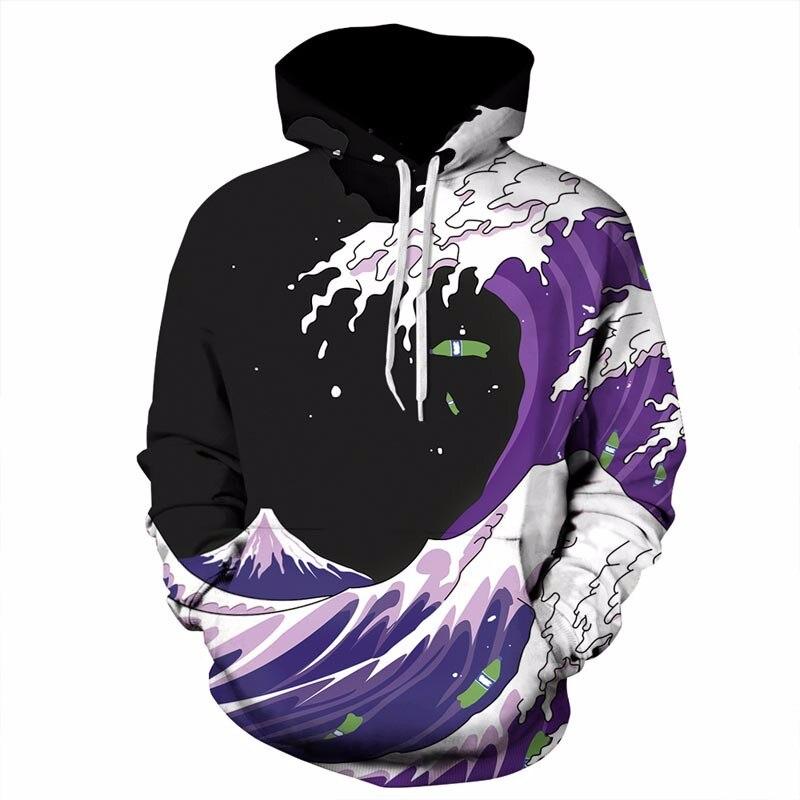 Headbook Autumn Winter Fashion Men/Women Hoodies Hooded With Hat Print Sea Waves Thin Style 3d Sweatshirts YXQL254