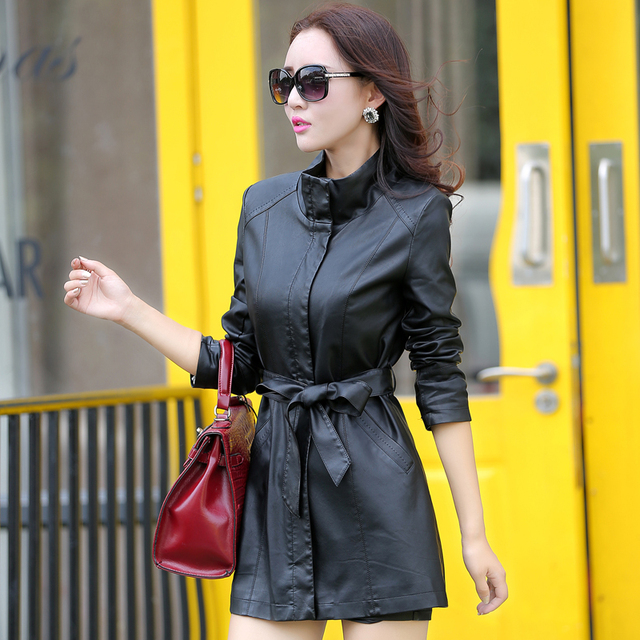 2016 new arrivals winter leather jacket women's clothing slim medium-long leather trench outerwear women's casual jacket