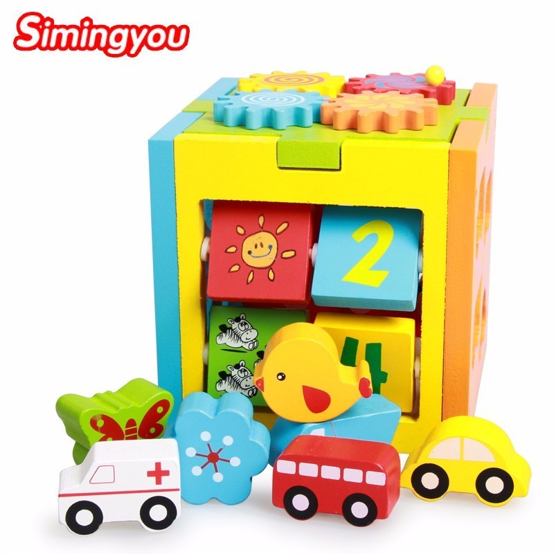 Simingyou Kids Wooden Toys Educational Porous Intelligence Box Shape Matching Blocks Toy Shape C20 Drop Shipping 13 holes wooden toys intelligence box for shape sorter cognitive and matching building sorority eductional toys for children