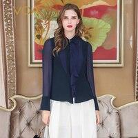 VOA тяжелый шелк блузка женские офисные Топы оборками Лента Базовая рубашка Для женщин пикантные сетчатые кисточкой Темно синие осень с длин