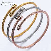 A N 3PCS Lot Gold Rose Gold Silver Bangles Bracelets Opened Cuff Stainless Steel Bracelets Women