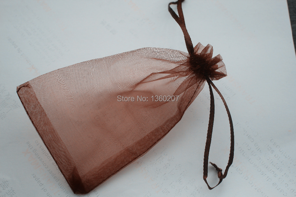 100 unids lote 13x16 cm color marrón chocolate organza bolsas joyería  bolsas del regalo de boda Bolsas de tela fc095a1dc905