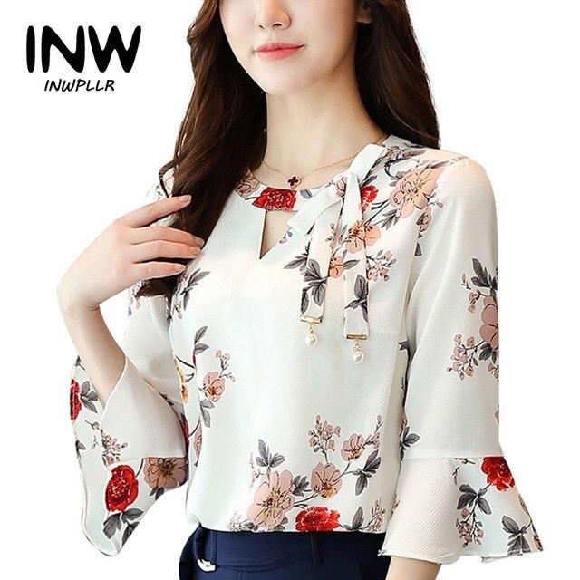 e9d257a2d3e19 2017 Nuevo verano otoño blusa mujeres Tops estampado Floral camisas elegante  tres cuartos Flare mangas gasa