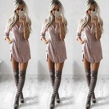 Fashion Women Loose Long Sleeve V Neck Camel Black Chiffon Button Long Sleeve Casual Blouse-Style Dress  Shirt Tops New Fashion