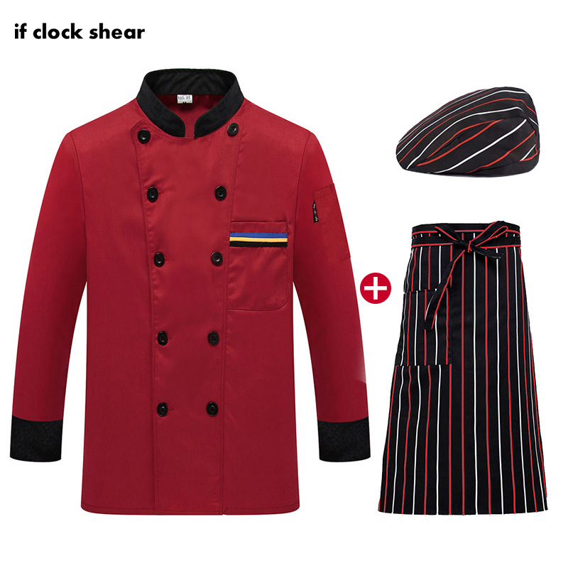 IF New Long Sleeve Restaurant Kitchen Uniforms Unisex Catering Work Clothes Chef Jacket Hat Apron Shirt Men Chef M-4XL Wholesale