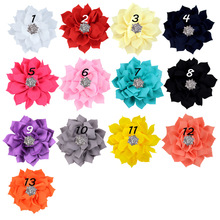 Nishine 30pcs lot Fabric Lotus Flower With Rhinestone Button Hair  Accessories for Kids Women DIY 90d03f81f9ce