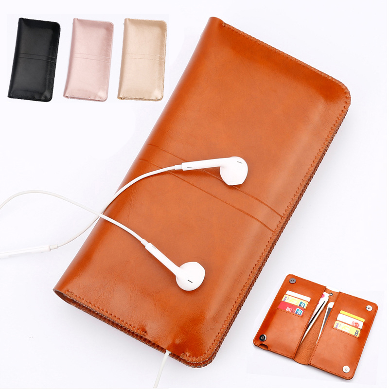 Galleria fotografica Universal Microfiber Leather Pouch Bag Case Cover Wallet Purse Holster For Multi Smart Phone Smartphone Model Below 5.7 inch