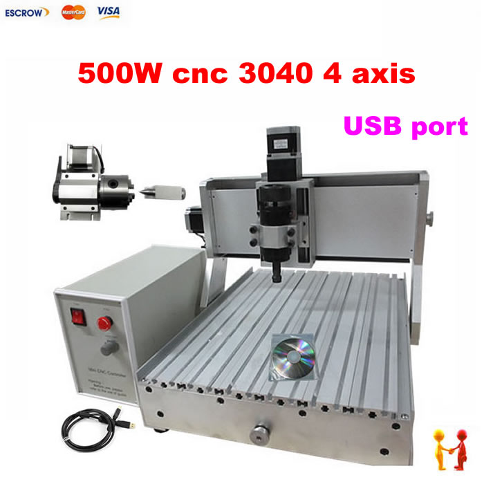 цены 500W USB PORT 4 Axis 3040 cnc router with limit switch cnc engraving machine