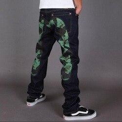 Evisu Casual mannen Ademend Hoge Kwaliteit Warm Jeans Pocket mannen Tij Merk Borduren Straight Print Dikke mannen broek
