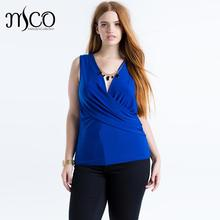 2016 Summer Basic Office Sleeveless Cami Wrap Front Top Black Bodycon Tshirt Sexy V Neck T shirt Women Plus Size Tees 5xl 6xl