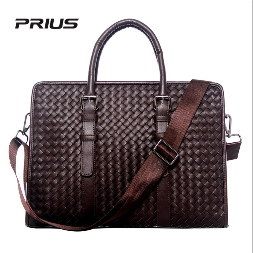 PRIUS Brand Men Fashion Business Package Hand-Woven Briefcase Cowhide Handbag office Bag Computer Bag Shoulder Bag prius brand men s casual package high end fashion 2017 new men s package shoulder bag men messenger bag shoulder bag