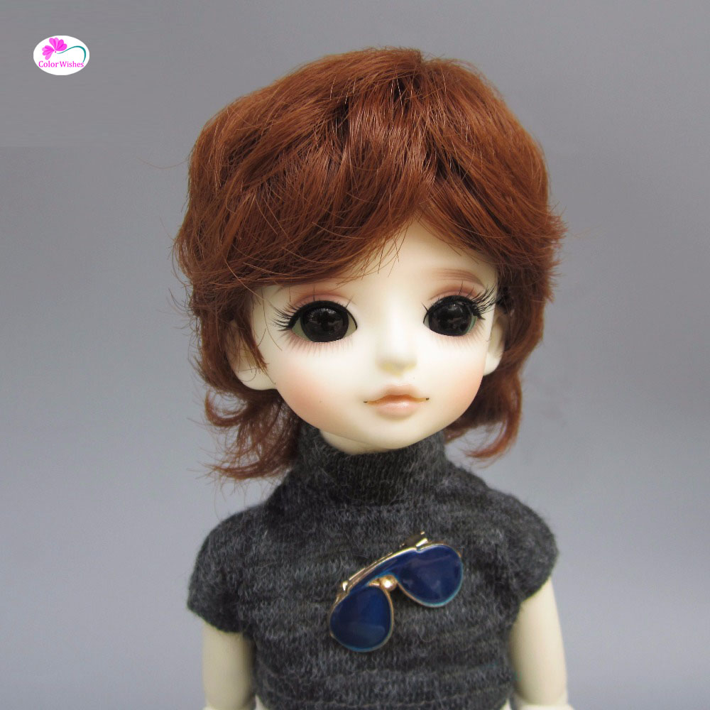 купить Fashion bjd doll hair for 1/3 1/4 1/6 BJD/SD doll wigs Accessories Brown natural small curly hair дешево