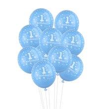 Balões de látex para festas de 1 ano, balão de festa de aniversário para meninos e meninas, feliz aniversário, rosa e azul