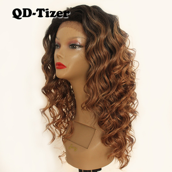 QD-Tizer Big Curly Hair Brown Two Tone Color Lace Front Wig Glueless Heat Resistant Synthetic Lace Front Wigs Curly Hair