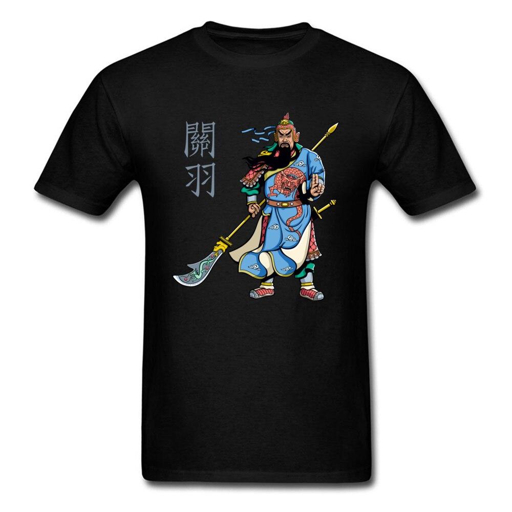Chinese Hero Warrior Guan Yu Print Men T-shirt Mans Short Sleeve Black Tee Shirt Tops Unique Design Beijing Opera Character