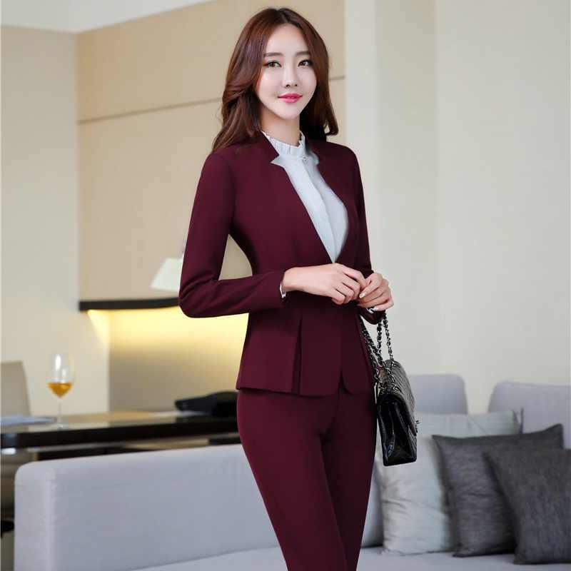 6bb229492 Moda Formal profesional uniforme estilos chaquetas y pantalones de las  mujeres de negocios pantalones trajes mujer chaqueta conjuntos