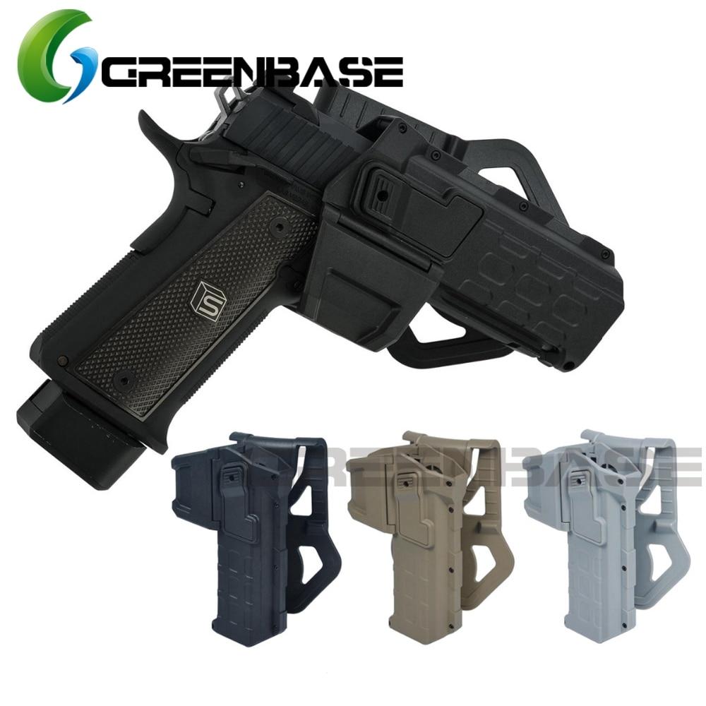 Greenbase Gun Holster Tactical Tokyo Marui 1911 Movable Pistol Holsters Flashlight Laser Mounted Right Hand Waist Belt