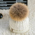 [Dexing100% real fur pompom hat inside Velvet slouchy Knitted winter hats for women mink Beanies  Knit  female Cap bonnet femme