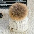 [Dexing100 % real sombrero de pompón de piel en el interior de Terciopelo slouchy Gorros de Punto sombreros de invierno para las mujeres de visón de Punto capo Casquillo hembra femme