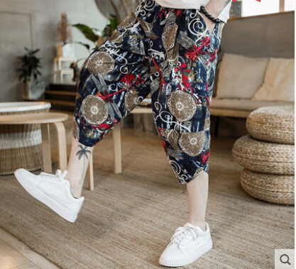 Chinese Style Linen Cropped Trousers  Pants Men's Shorts Embroidery Print  Summer Loose