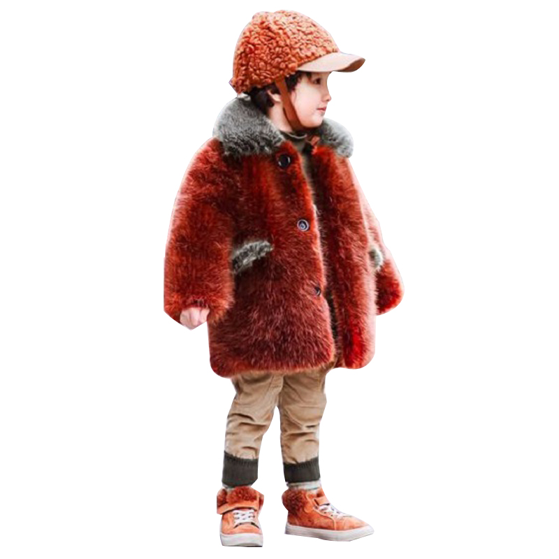 купить New kid's faux Mink hair fur coat for boy brown mink fur Fashion lapel baby coat jacket winter fur outerwear free shipping по цене 2901.45 рублей