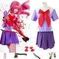 El diario de futuro Cosplay uniforme escolar vestido del Gasai Yuno Cosplay Mirai Nikki segundo para mujer de Halloween Cos ropa