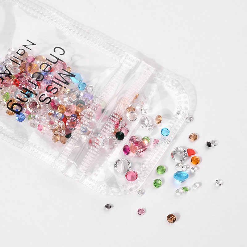 1แพ็ค10กรัมABคริสตัลเล็บR Hinestonesผสมขนาดที่มีสีสันหินเล็บG Litterเสน่ห์S Trassแก้วเล็บอัญมณีDIYตกแต่ง